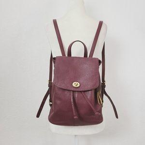 Coach Signature Burgundy Pepple Leather Backpack